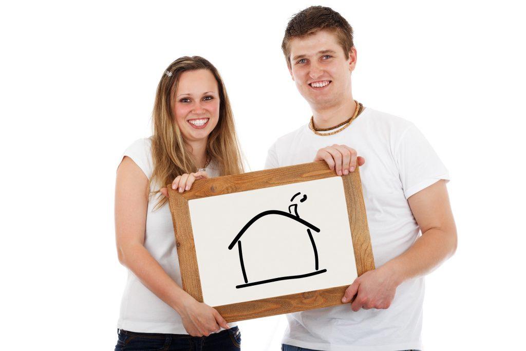 Haus Bau glücklich